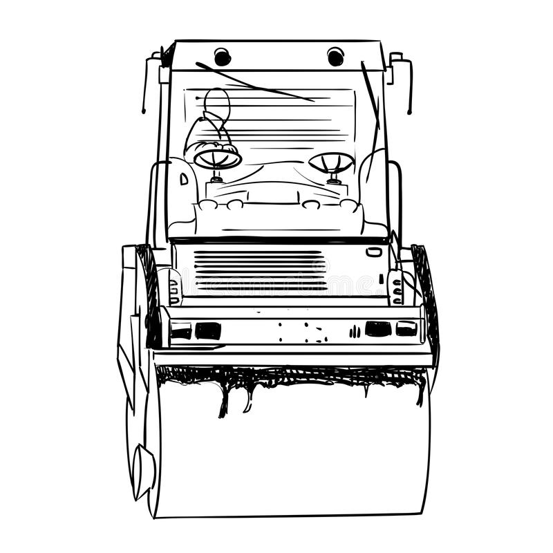 Rodillo de camino bajo fondo blanco ilustración del vector