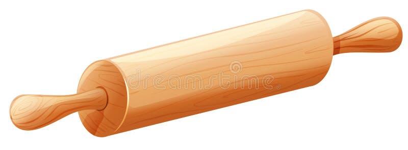Rodillo de madera en el fondo blanco stock de ilustración