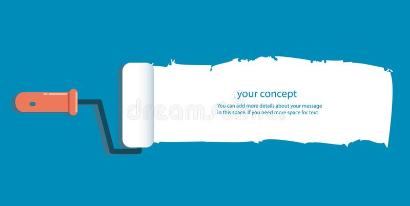 Rodillo de pintura aislado con el espacio para el texto y el fondo libre illustration