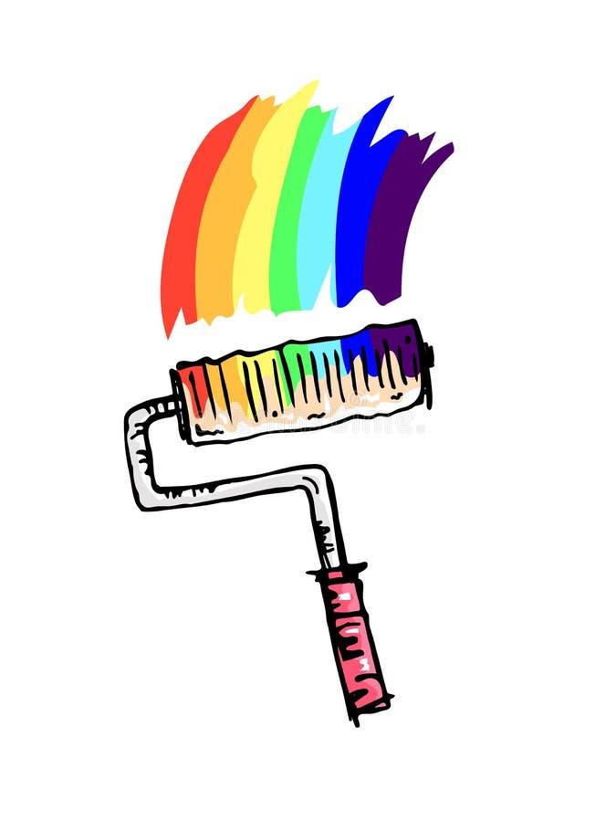 Rodillo de pintura coloreado gráfico con la pintura del arco iris ilustración del vector