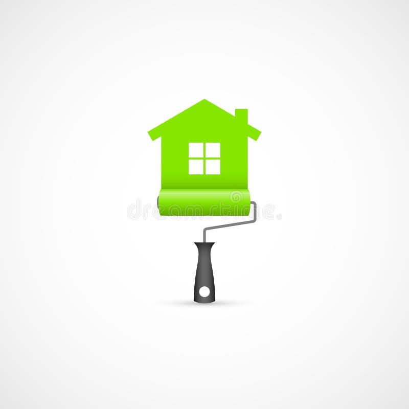 Rodillo de pintura con el icono del símbolo de la casa verde ilustración del vector