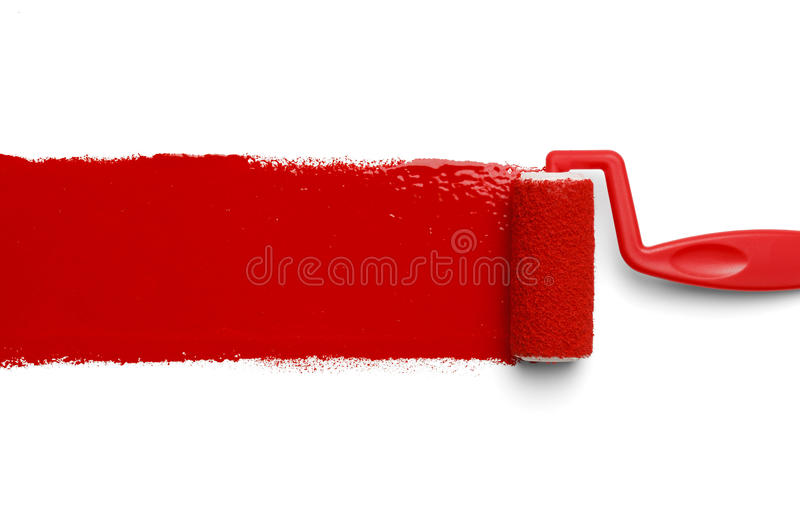 Rodillo de pintura rojo imagen de archivo libre de regalías
