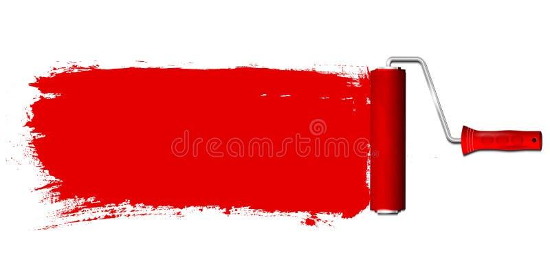 Rodillo de pintura y fondo del color rojo stock de ilustración