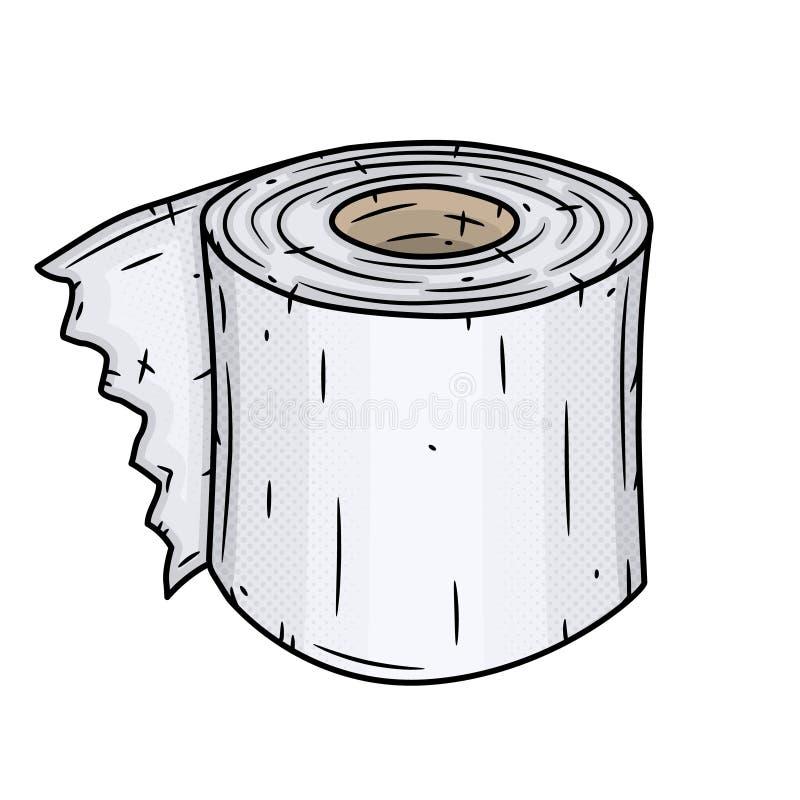 Rodillo del papel higi?nico Ilustraci?n del vector aislada en el fondo blanco stock de ilustración