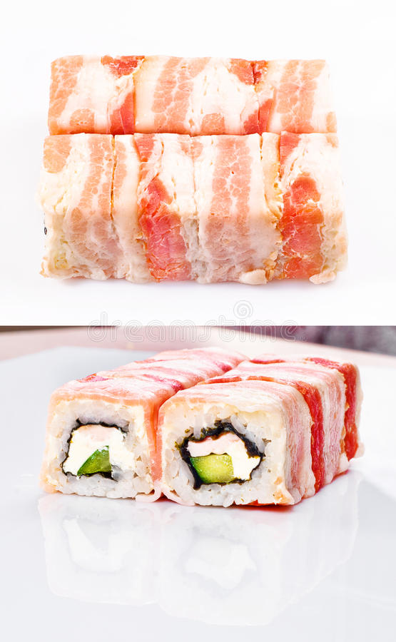 Rodillo del sushi en tocino
