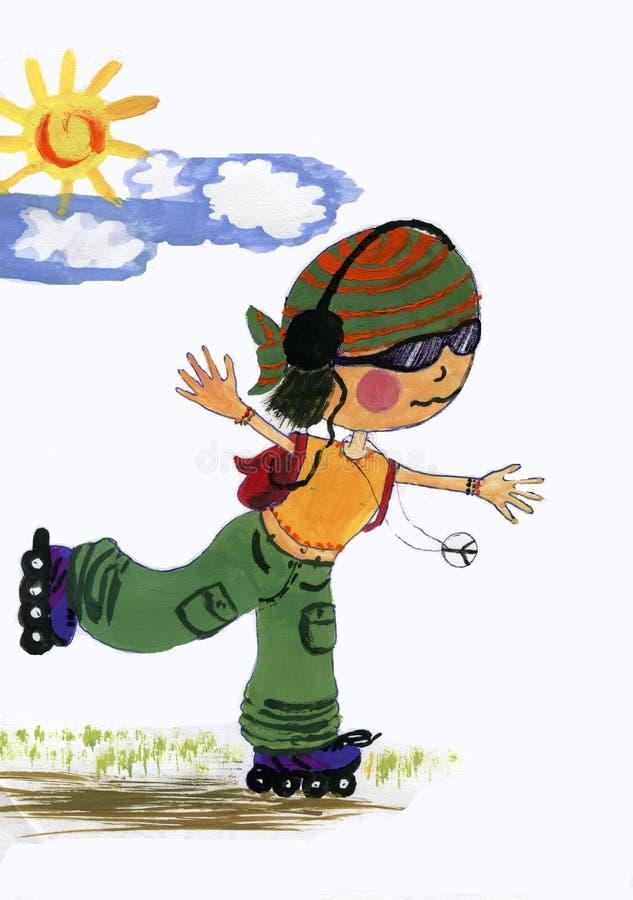 Rodillo-muchacha libre illustration