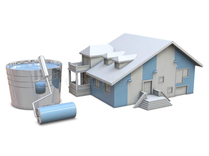 Rodillos de la casa y de pintura ilustración del vector
