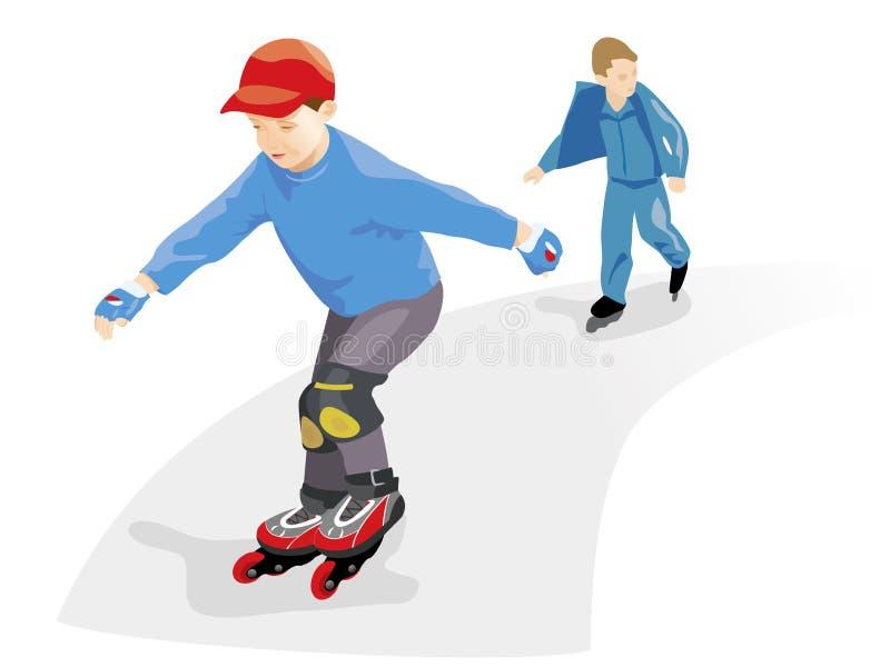 Rodillos patinadores de los muchachos. Vector ilustración del vector