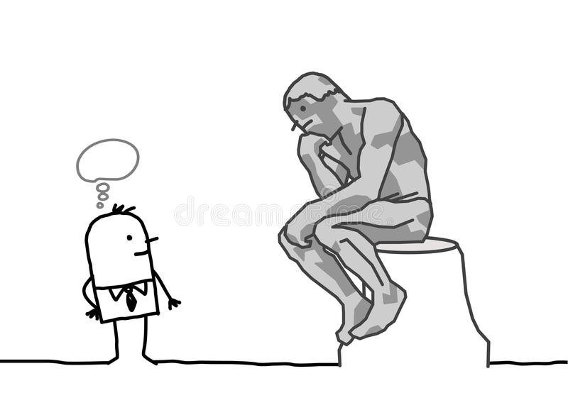 Download Rodin's thinker parody stock vector. Image of sitting - 18443740
