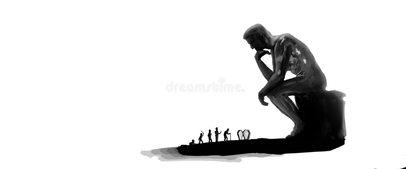 Rodin the Thinker and Life stock photos