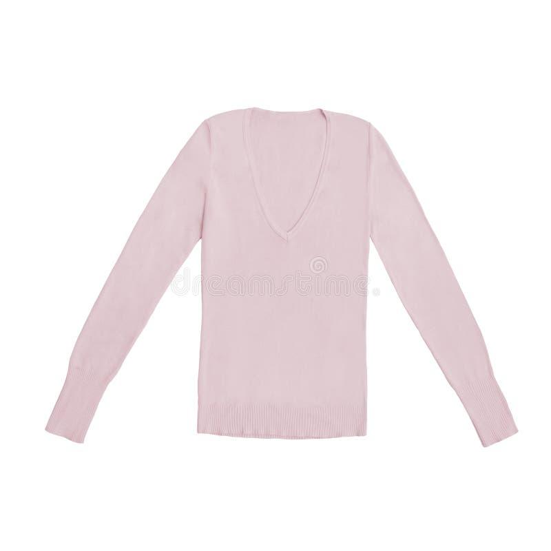 Rodnaden för kvinna` s färgade, den rosa v-halsen sweatern som isolerades på vit arkivfoto