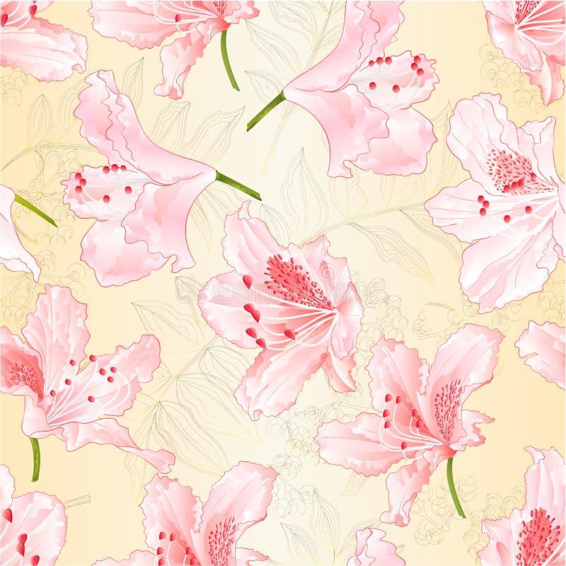Rododendros rosas claros de los flores de la textura inconsútil en un ejemplo del vector del vintage del fondo de la naturaleza e ilustración del vector