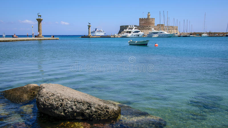 Rodos Mandraki port obraz royalty free