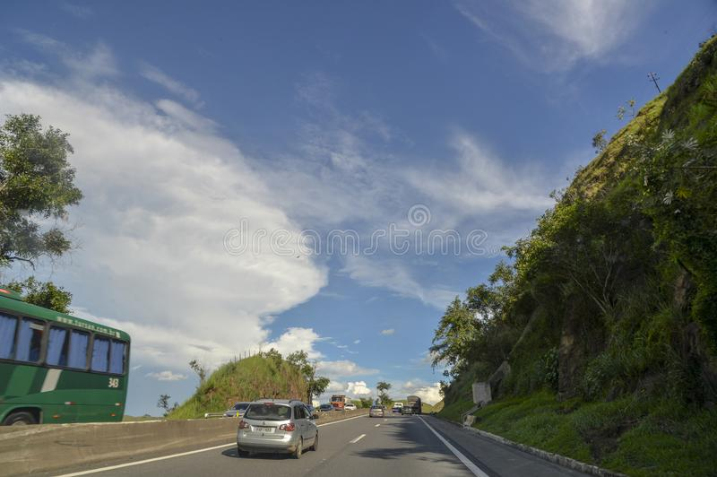 Rodovia Presidente Dutra. Resende, Brazil - january 02, 2017: Presidente Dutra Highway, an important road link between the cities of São Paulo and Rio de stock images