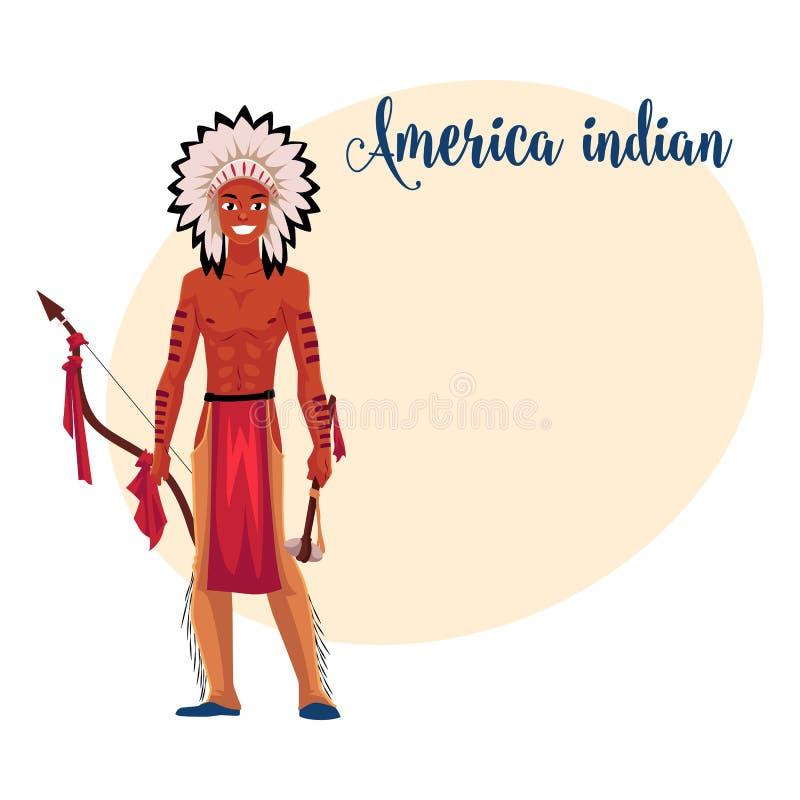Rodowitego Amerykanina Indiański mężczyzna w piórkowym pióropuszu, breechcloth, rzemienni leggings royalty ilustracja