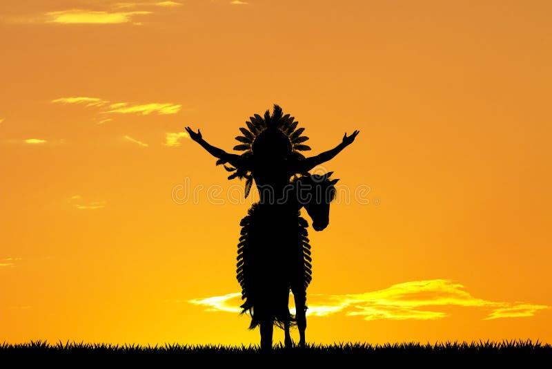 Rodowitego Amerykanina indianin na horseback przy zmierzchem ilustracja wektor