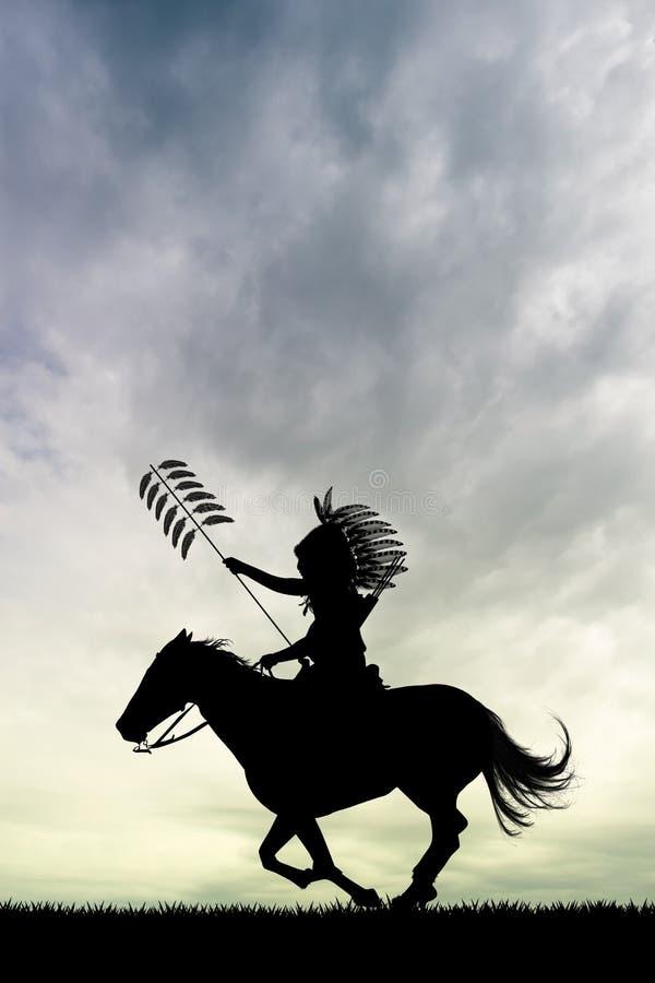 Rodowitego Amerykanina indianin na koniu ilustracji