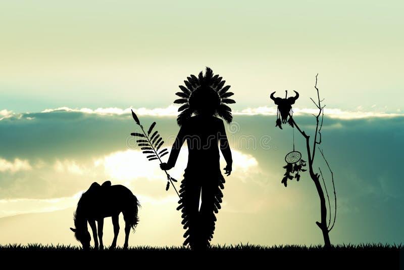 Rodowitego Amerykanina indianin przy zmierzchem ilustracja wektor