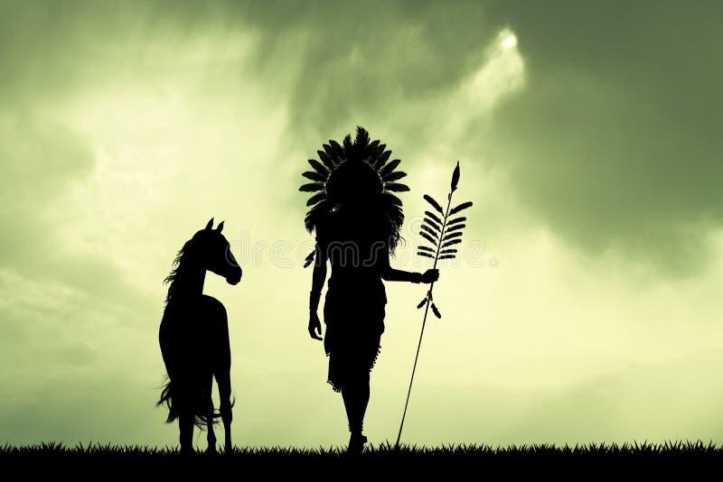 Rodowitego Amerykanina indianin przy zmierzchem royalty ilustracja
