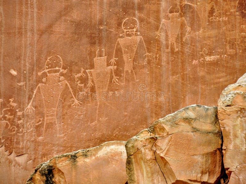 Rodowitego Amerykanina indianina Fremont petroglifów kapitału rafy park narodowy Utah fotografia royalty free