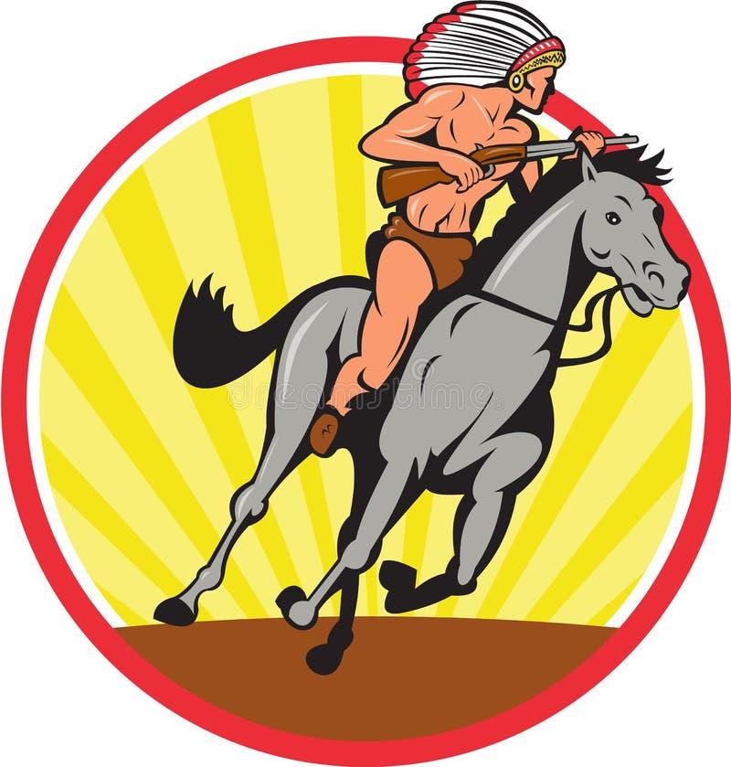 Rodowitego Amerykanina Jeździeckiego konia Indiański szef royalty ilustracja