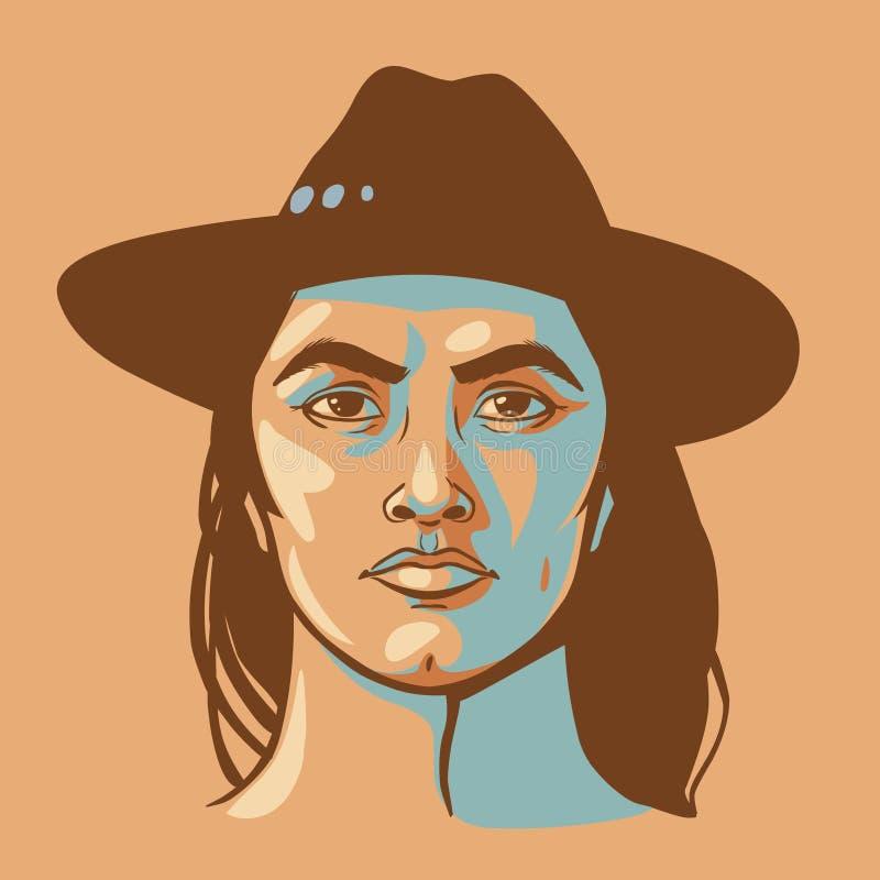 Rodowitego Amerykanina mężczyzna z długie włosy royalty ilustracja