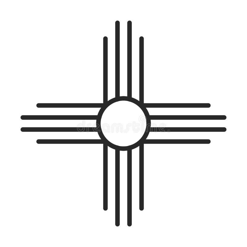 Rodowitego Amerykanina słońca symbolu ikona royalty ilustracja