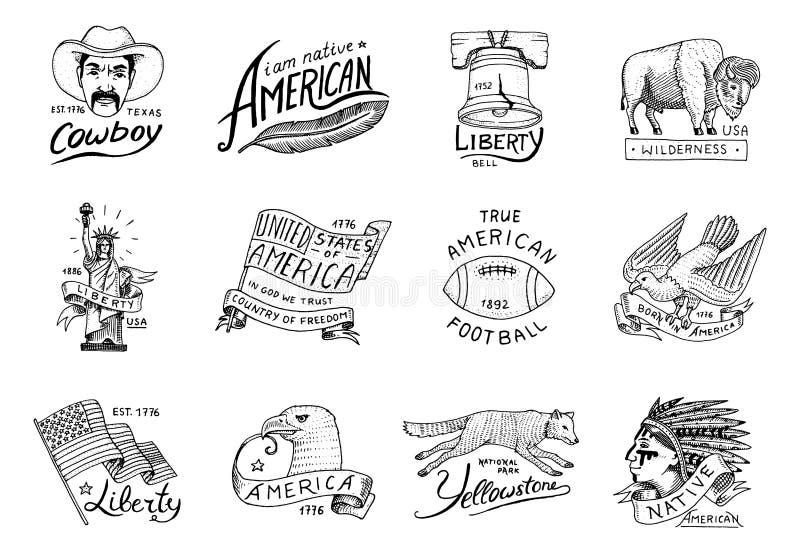 Rodowitego Amerykanina set stary, etykietko lub odznako dla obozować, wycieczkujący, tropiący bizon, flaga, orzeł i kowboj, wilk  ilustracji