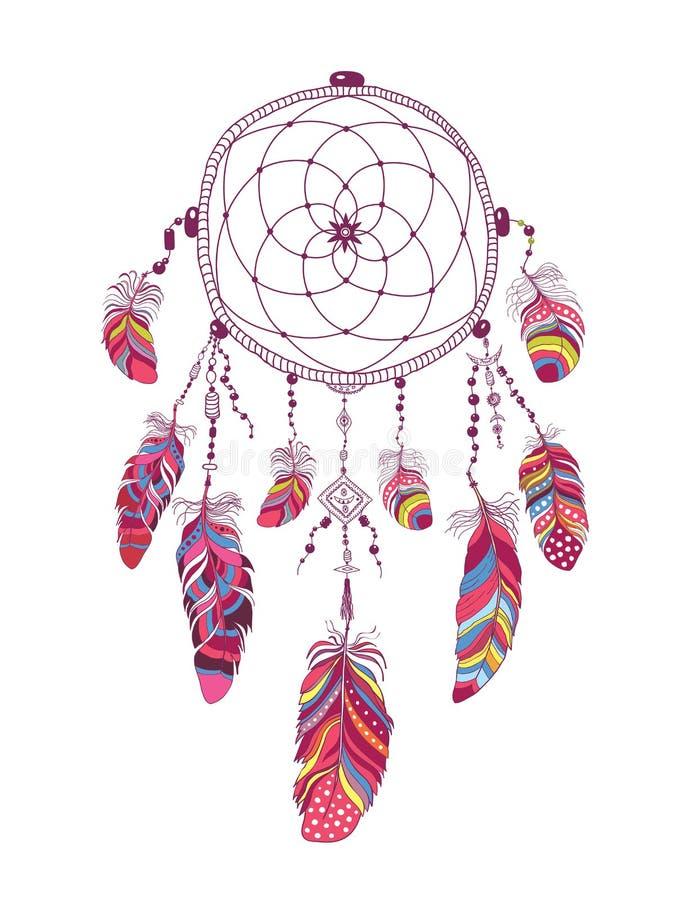 Rodowitego Amerykanina talizmanu sen Indiański łapacz z piórkami ilustracji