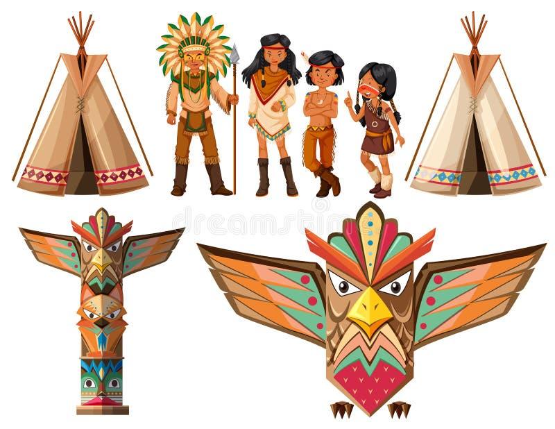 Rodowitego Amerykanina tepee i hindusi royalty ilustracja