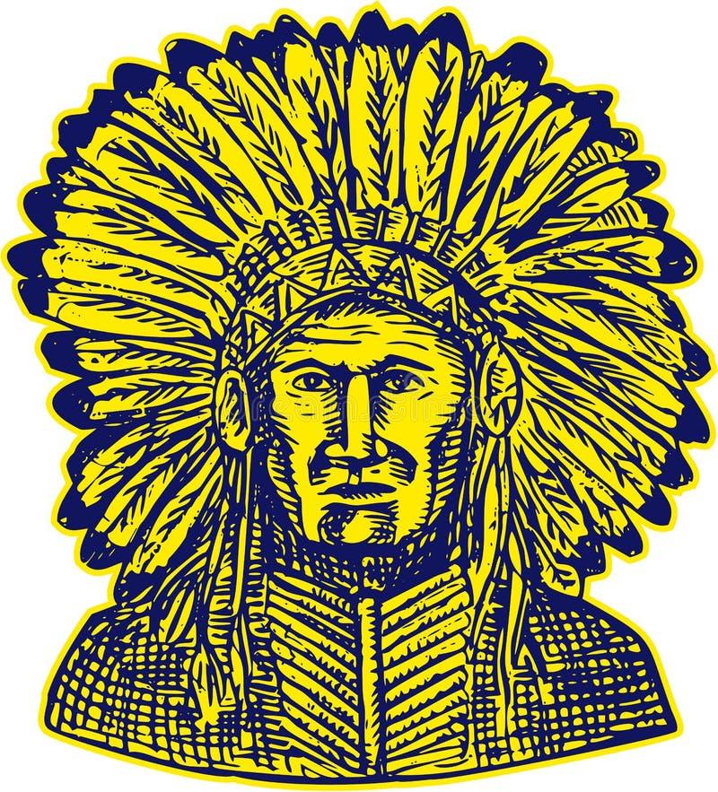 Rodowitego Amerykanina wojownika akwaforty Indiański szef royalty ilustracja