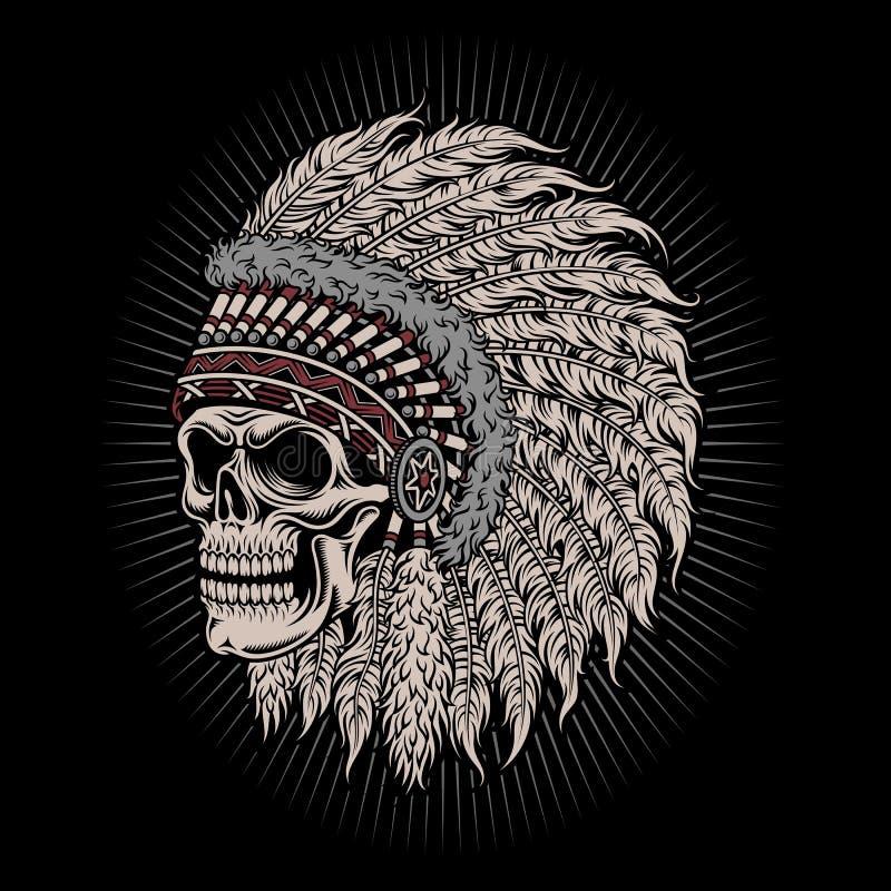 Rodowity Amerykanin czaszki Indiański szef royalty ilustracja