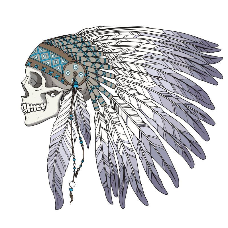 Rodowity Amerykanin czaszki Indiański szef ilustracja wektor