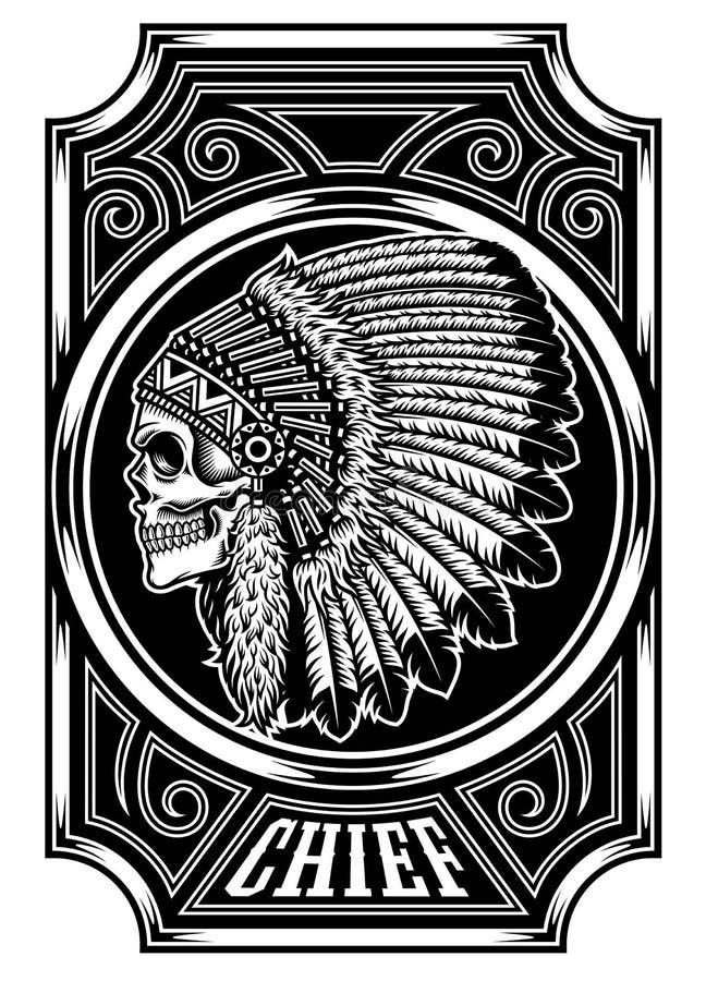 Rodowity Amerykanin czaszki w Czarny I Biały Indiański szef ilustracja wektor