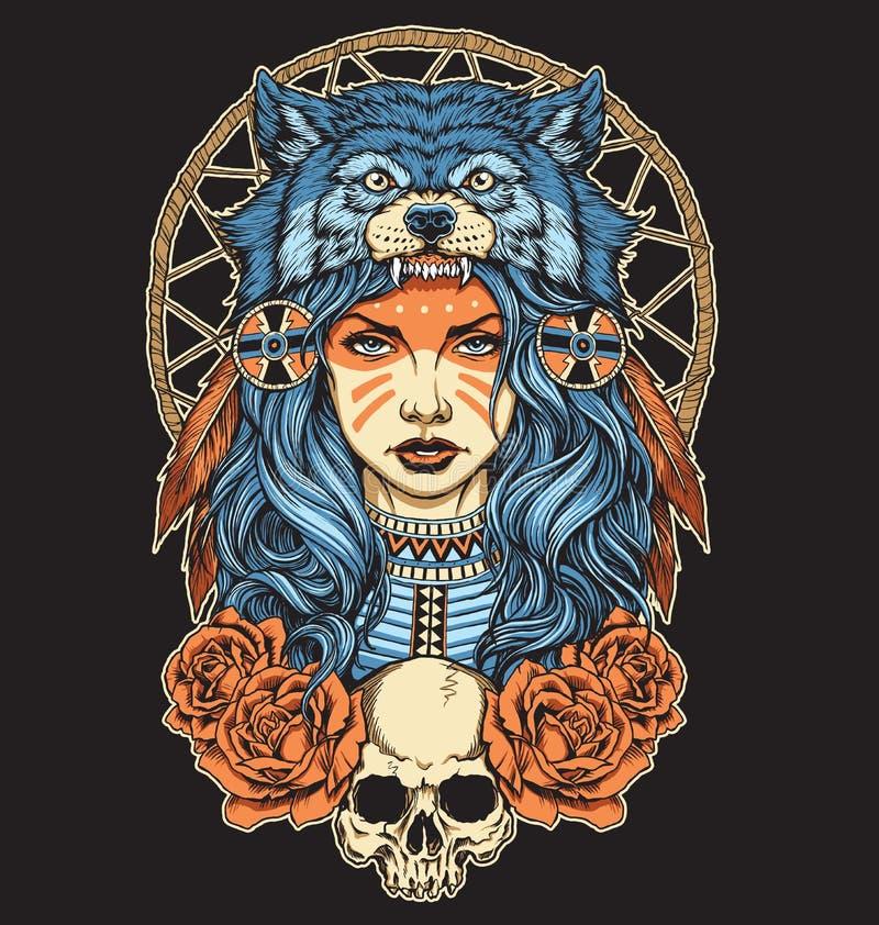 Rodowity Amerykanin dziewczyna z Wilczego pióropuszu pełnym kolorem royalty ilustracja
