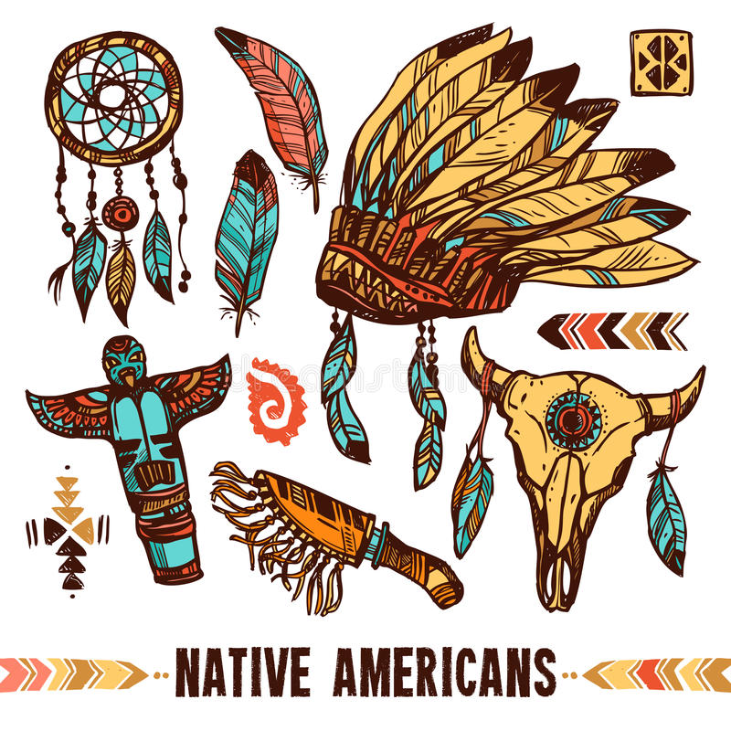 Rodowity Amerykanin ikony Dekoracyjny set ilustracja wektor