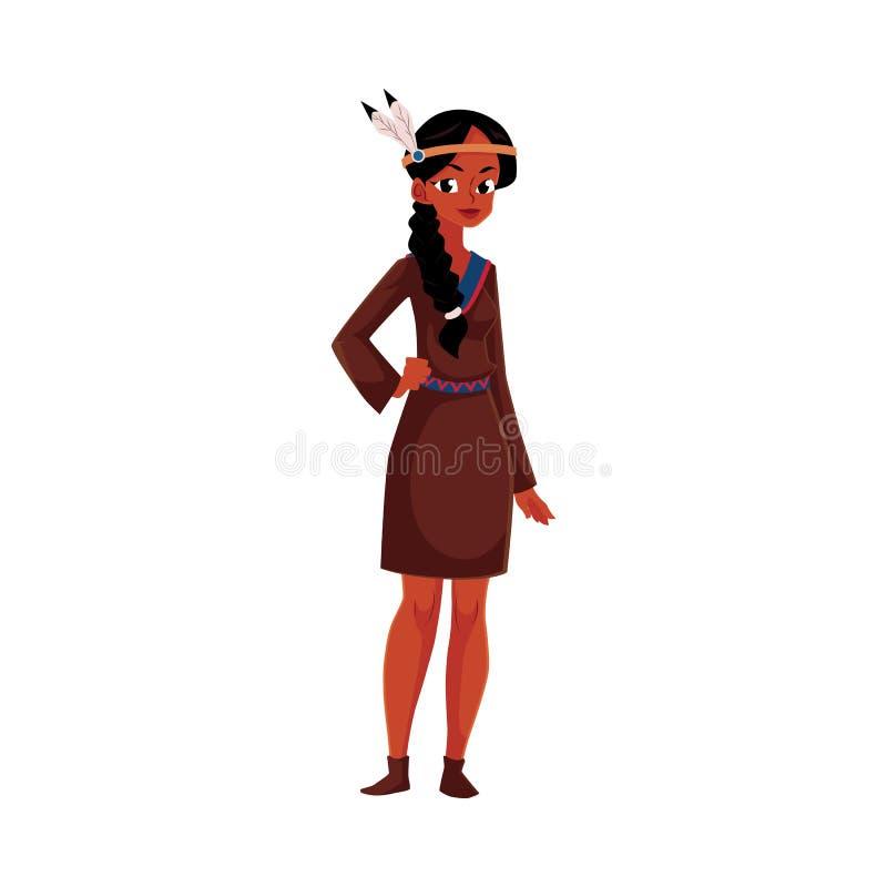 Rodowity Amerykanin Indiańska kobieta w tradycyjnej, krajowej koszulowej buckskin sukni, ilustracja wektor
