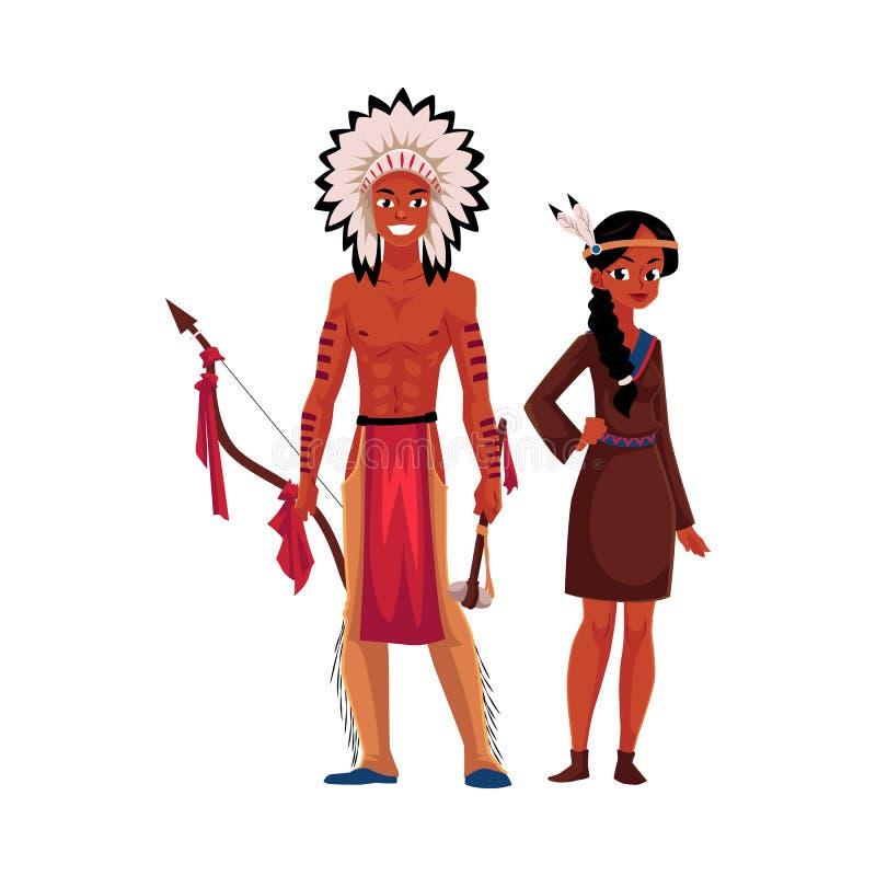 Rodowity Amerykanin Indiańska para w tradycyjnej buckskin sukni, breechcloth i royalty ilustracja