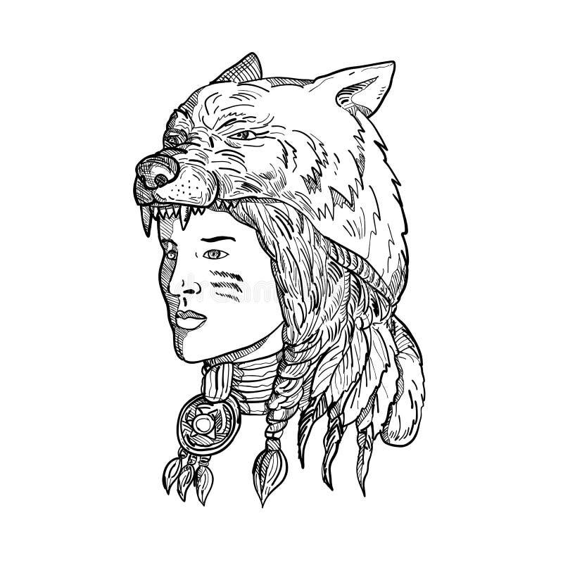 Rodowity Amerykanin kobieta Jest ubranym wilk głowę ilustracji