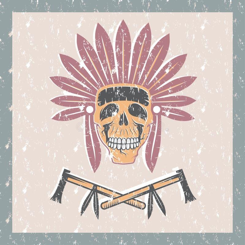 Rodowity Amerykanin naczelna czaszka w plemiennym pióropuszu z tom royalty ilustracja