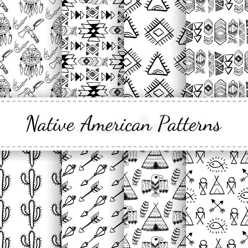 Rodowitych Amerykan Bezszwowi wzory Ustawiający ilustracja wektor