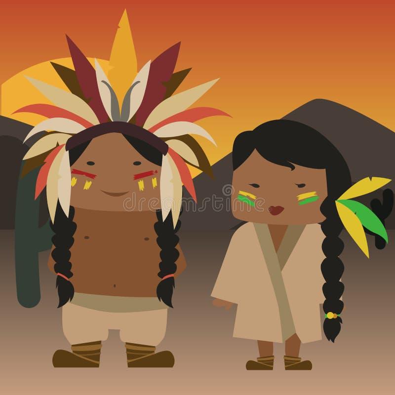 Rodowitych Amerykan hindusi ilustracji