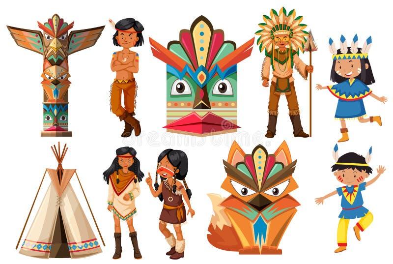 Rodowitych Amerykan hindusi i tradycyjne rzeczy ilustracji