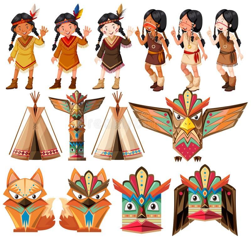 Rodowitych Amerykan hindusi i tradycyjny rzemiosło set royalty ilustracja