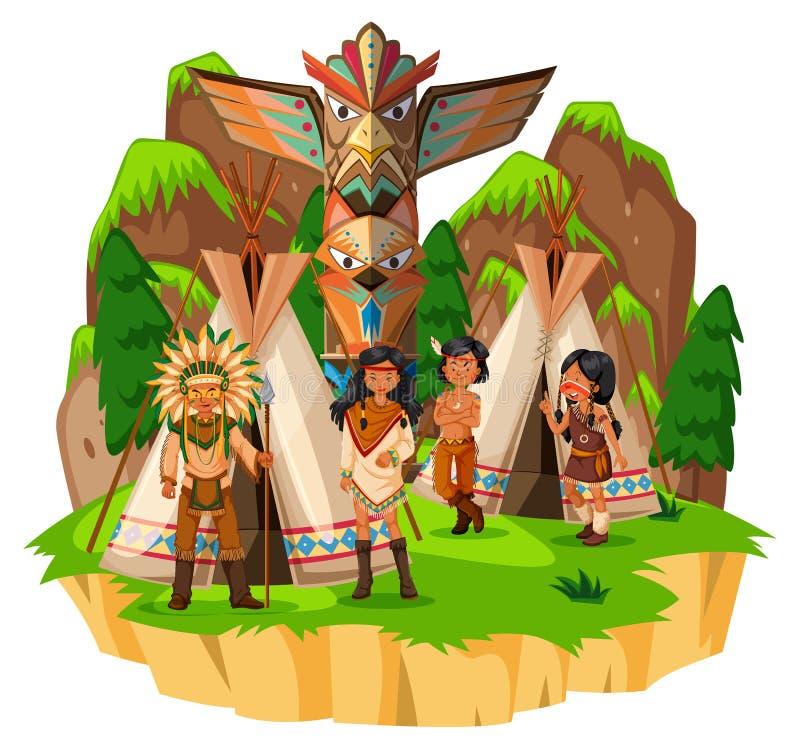 Rodowitych Amerykan hindusi przy ich namiotami royalty ilustracja