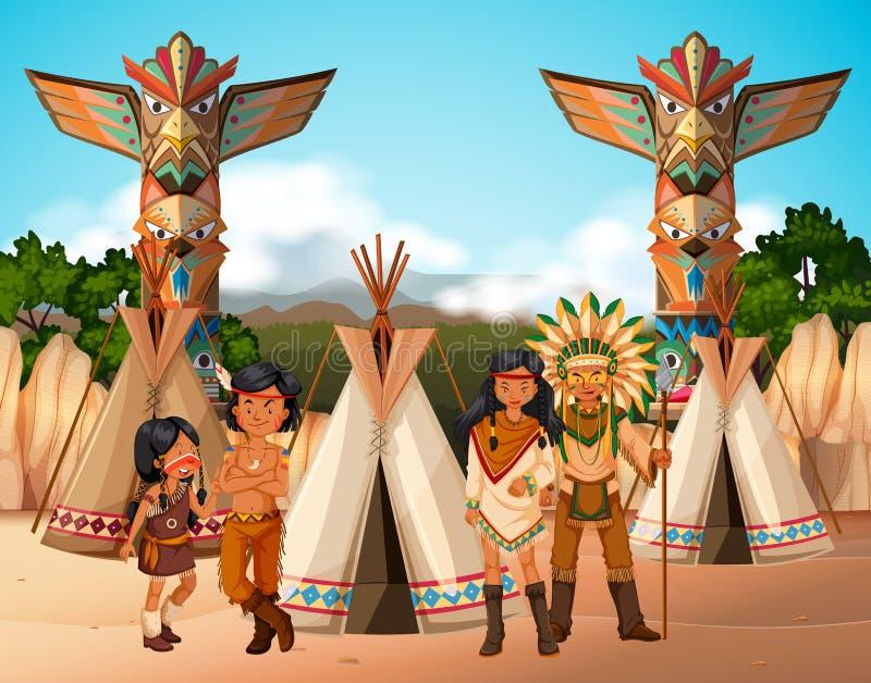 Rodowitych Amerykan hindusi przy obozowym miejscem royalty ilustracja
