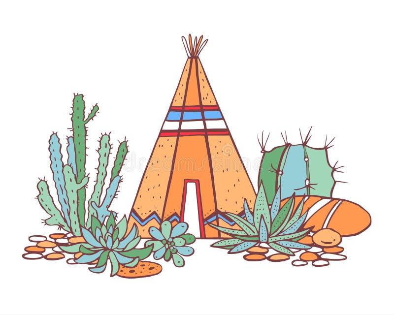 Rodowitych Amerykan hindusi tradycyjny wigwam, sukulenty i kaktusy, Wektorowa ręka rysująca koloru konturu doodle nakreślenia ilu ilustracja wektor