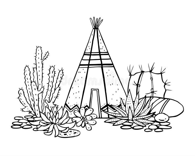 Rodowitych Amerykan hindusi tradycyjny wigwam, sukulenty i kaktusy, Wektorowa ręka rysująca konturu doodle nakreślenia ilustracja royalty ilustracja