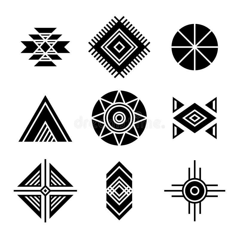 Rodowitych Amerykan indianów Plemienni symbole ilustracja wektor