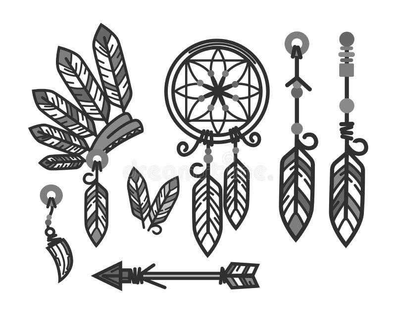 Rodowitych Amerykan indianów tradycyjna kultura wytłacza wzory symbol wektorowe ikony ustawiać ilustracja wektor